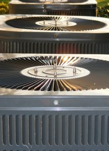 group of outside units for central air conditioning