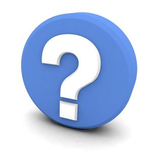 white question mark on blue background