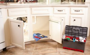 under sink cabinets open revealing plumbing, with tool box to the side