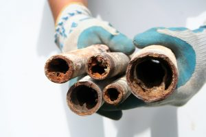 Clogged drain pipes Smaller pipes. Originally shot for a copper pipe replacing company, but never used. These clogged pipes came out of an old apartment building that was having water drainage issues.